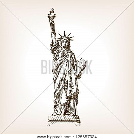 Statue of Liberty sketch style vector illustration. Old engraving imitation. Statue of Liberty landmark hand drawn sketch imitation