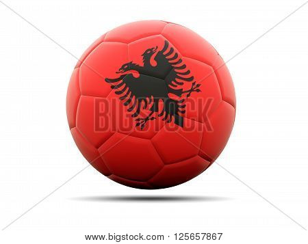 Football with flag of albania. 3D illustration poster