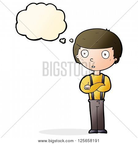 cartoon staring boy with folded arms with thought bubble