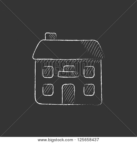 Two storey detached house. Drawn in chalk icon.