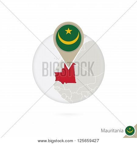Mauritania Map And Flag In Circle. Map Of Mauritania, Mauritania Flag Pin. Map Of Mauritania In The