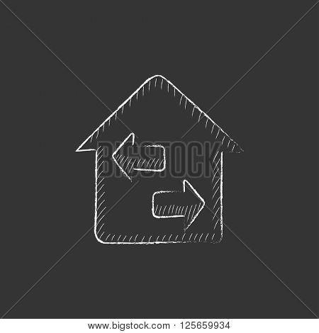 Property resale. Drawn in chalk icon.