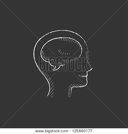 Human head with brain. Drawn in chalk icon.