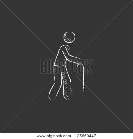 Man with cane. Drawn in chalk icon.