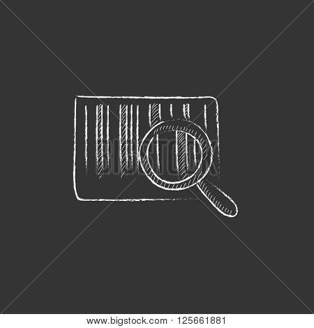 Magnifying glass and barcode. Drawn in chalk icon.