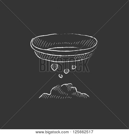 Bowl for sifting gold. Drawn in chalk icon.