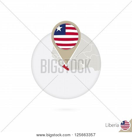 Liberia Map And Flag In Circle. Map Of Liberia, Liberia Flag Pin. Map Of Liberia In The Style Of The