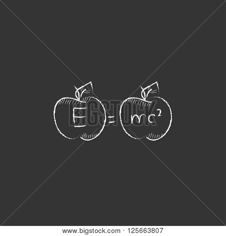 Two apples with formulae. Drawn in chalk icon.