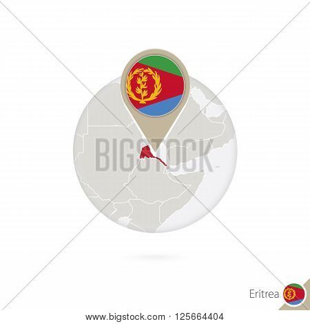 Eritrea Map And Flag In Circle. Map Of Eritrea, Eritrea Flag Pin. Map Of Eritrea In The Style Of The