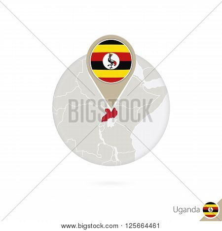 Uganda Map And Flag In Circle. Map Of Uganda, Uganda Flag Pin. Map Of Uganda In The Style Of The Glo