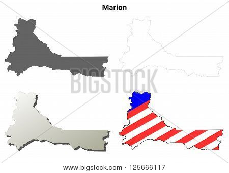 Marion County, Oregon blank outline map set