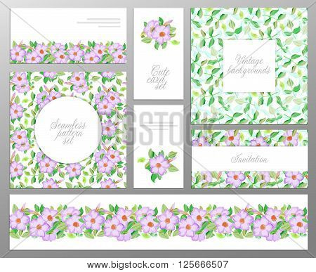 set consisting of two seamless floral pattern leaf pattern seamless border and welcome or greeting cards. Wedding womens day mother's day birthday backgrounds. Stock vector illustration.