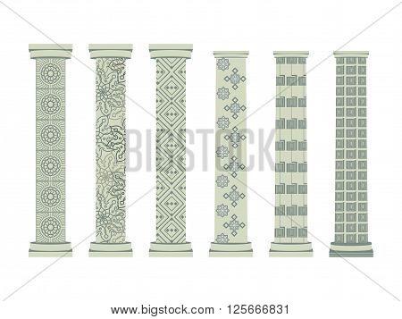 Column. Doric, Roman Style. Set Of Columns. Vector Illustration.