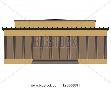 Building with columns. Historical monument. Vector illustration.