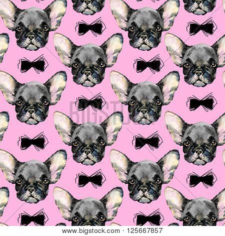 Dog Seamless pattern. French Bulldog. Cute dog. Watercolor dog. Puppy dog ilustration. Fashion print.
