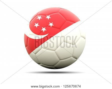Football With Flag Of Singapore