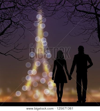 Silhouettes Of Couple Against The Eiffel Tower And Sunset Sky