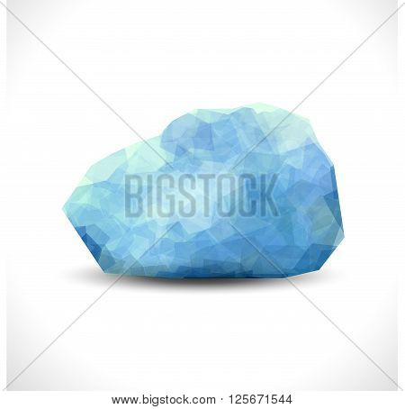 blue color aquamarine gem stone isolated on the white background. Premium vector editable template