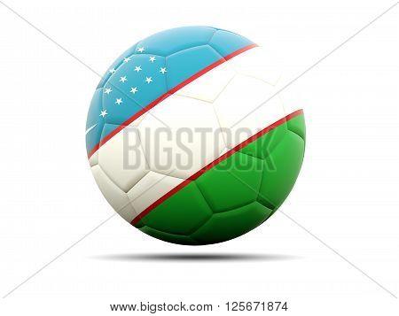 Football With Flag Of Uzbekistan