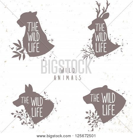 Beautiful set of silhouette wild animals deer, wolf cheetah, and bear. Vector illustration