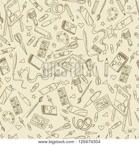 Stationery shop seamless retro line art design vector illustration. Separate objects. Hand drawn doodle design elements.