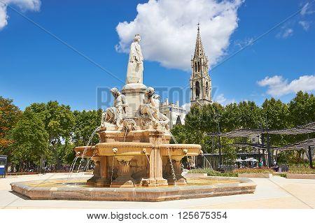 Esplanade Charles De Gaulle Of Nimes. Provence, France