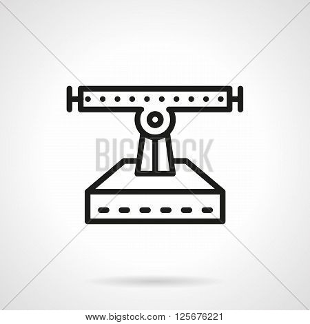 Services for longboard and skateboard repair. Symbol with a longboard suspension a front view. Simple black line vector icon. Single element for web design, mobile app.