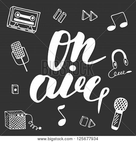 Cute hand drawn postcard with musical objects collection including note earphones microphone recoder recoder buttons combo tape. On air lettering banner for radio television