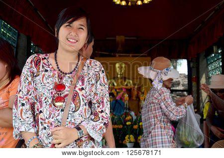 Thai Woman Travel And Portrait At Phra Kal Shrine