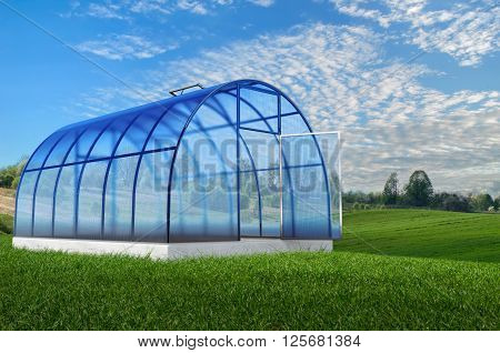 One blue emty round 3d greenhouse  in summer