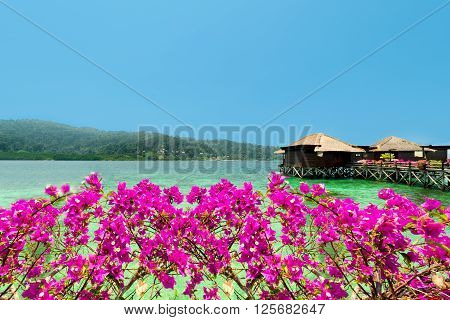 View of overwater bungalows and bougainvillea.Beautiful view of water bungalows in luxury resortshore and bougainvillea.Summer vacation concept
