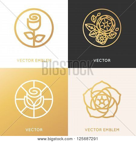 Vector Logo Design Template And Monogram Concepts In Trendy Linear Style And Golden Colors