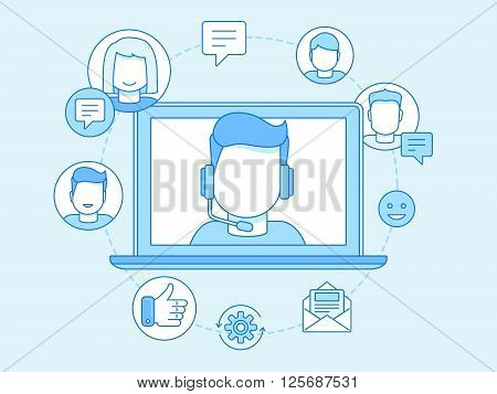 Vector Business Illustration In Trendy Linear Style And Blue Colors