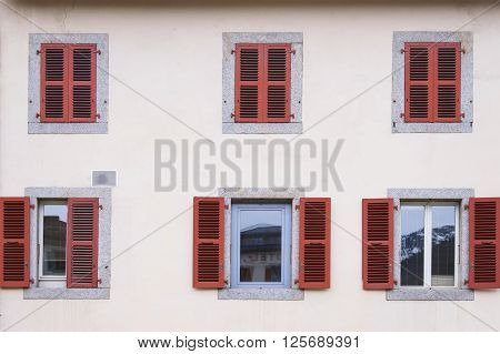 Wall with windows in Chamonix Mont Blanc France