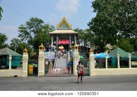 People pray angel statue at Phra Kal Shrine near Phra Prang Samyod on February 23 2016 in Lopburi Thailand