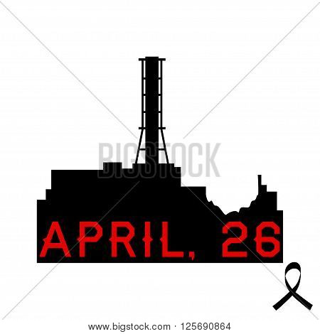 Silhouette of the Chernobyl nuclear power plant with the date of the fourth reactor explosion and black ribbon. Vector illustrationof silhouette of the Chernobyl nuclear power station. Isolated on white.