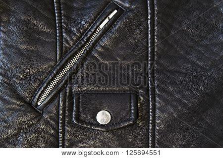 Stylish black leather jacket detail close up