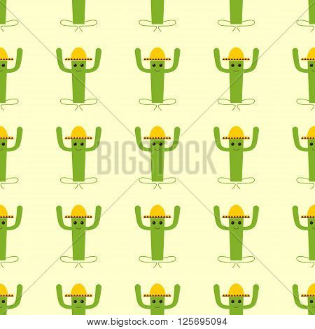 Seamless background with mexican cactus isolated on yellow