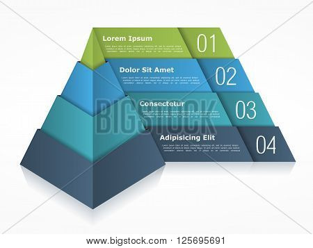 Pyramid chart with four elements vector eps10 illustration