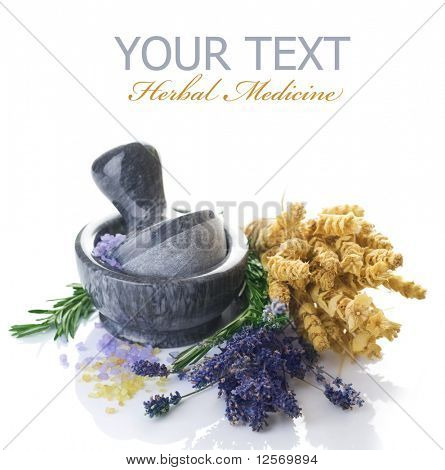 Herbal Medicine concept.Mortar and Herbs