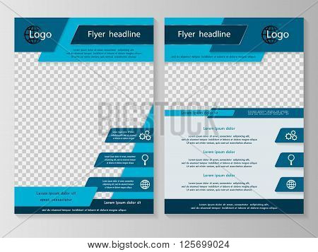 Vector flyer template design. For business brochure leaflet or magazine cover. Blue color