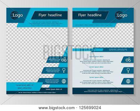 Vector flyer template design. For business brochure leaflet or magazine cover. Blue color
