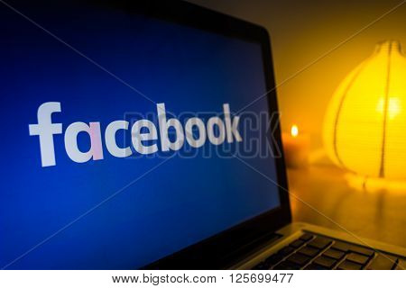 SZCZECIN, POLAND - APRIL 2016: New facebook logo on a computer screen, turned on the light in the background