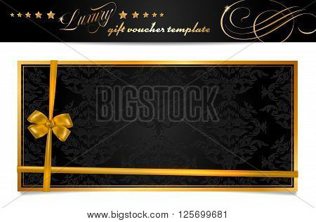 Luxury black and gold gift voucher with bow and shadow - isolated on white. Vector illustration.