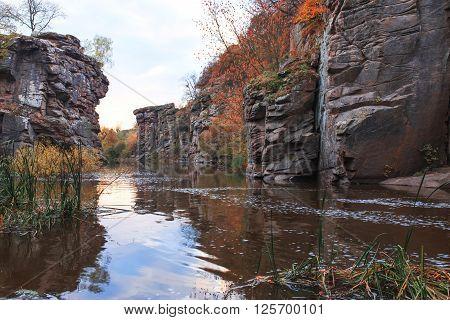Ukrainian canyon huge stones, natural landscape background.