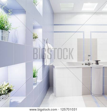 Spacious modern new bathroom with enormous bath