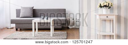 Modern Designed Living Room In Scandinavian Style