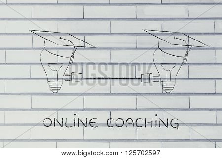 Lightbulbs With Graduation Cap With Plug, Online Coaching