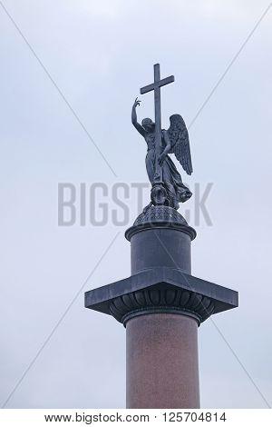 Alexander column in St. Petersburg, Russia.  poster