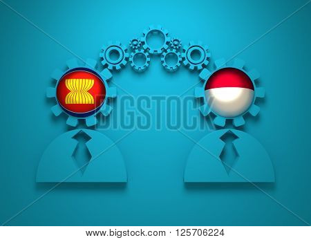 Image relative to politic and economic relationship between ASEAN and Indonesia. National flags in gears head of the businessman. Teamwork concept. 3D rendering